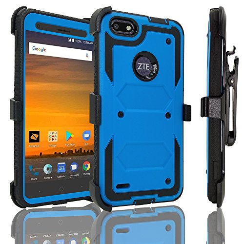ZTE Blade Force Case with [Tempered Glass Screen Protector], Customerfirst [Heavy Duty] Dual Layer [Belt Clip] Holster [Kickstand] Combo Rugged Case For ZTE Blade Force N9517 - Tempered Vs Polycarbonate Glass
