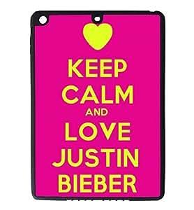 iPad Air Rubber Silicone Case - Keep Calm and love Justin Bieber
