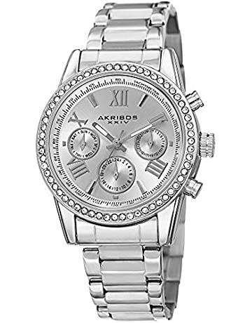 25d04f195 Akribos XXIV Women's Crystal Accent Watch - Multifunction 3 Subdials Day,  Date and GMT On