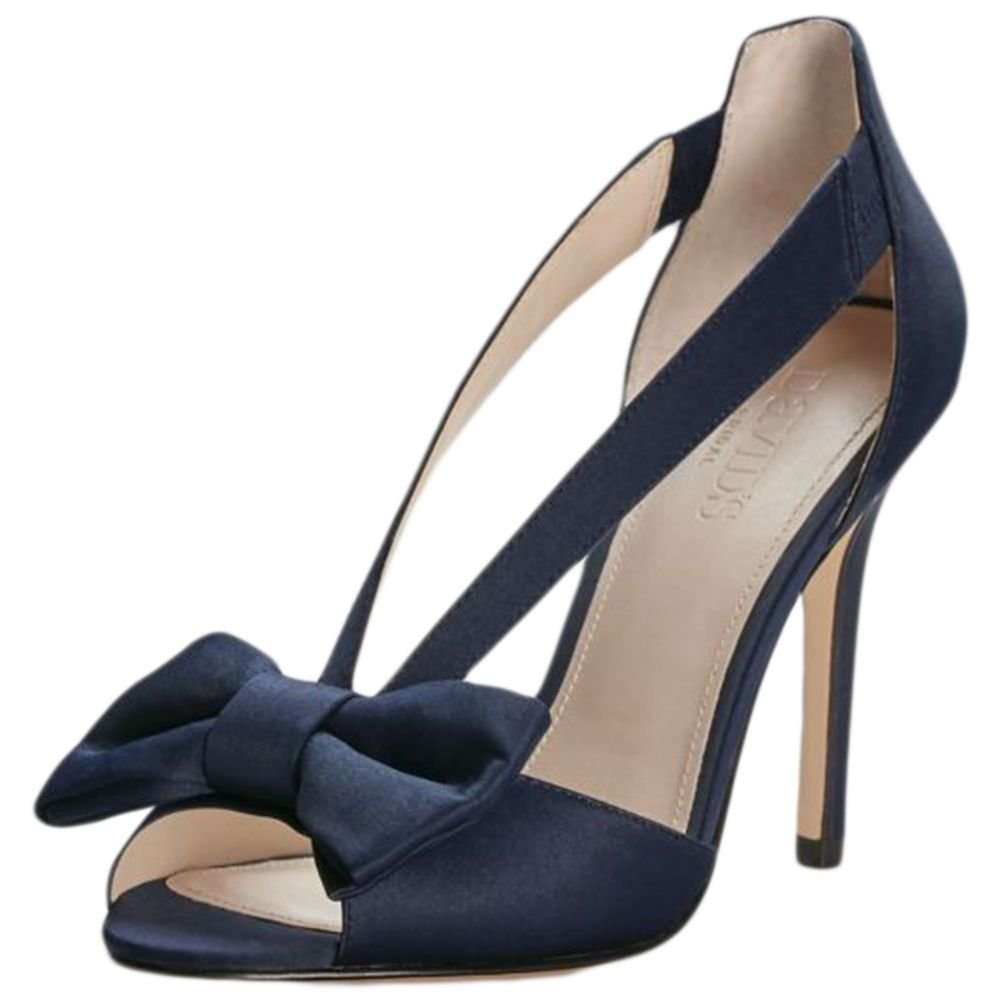 David's Bridal Two-Piece Strappy Bow Pumps Style Maiya, Navy, 6