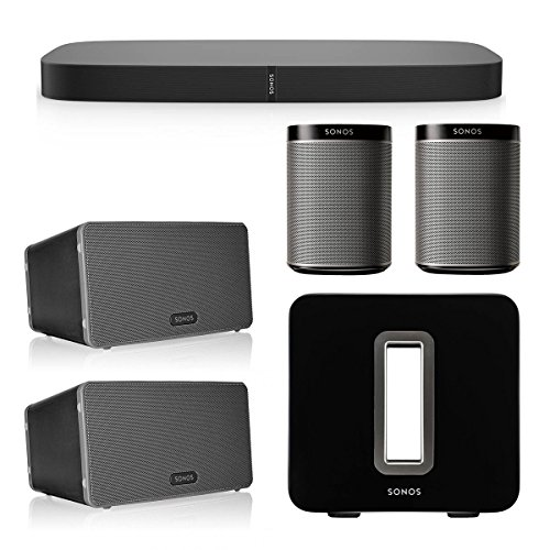 Sonos 5.1 Home Theater System with PLAYBASE, PLAY:1, PLAY:3, and SUB Wireless Subwoofer (Black) by Sonos