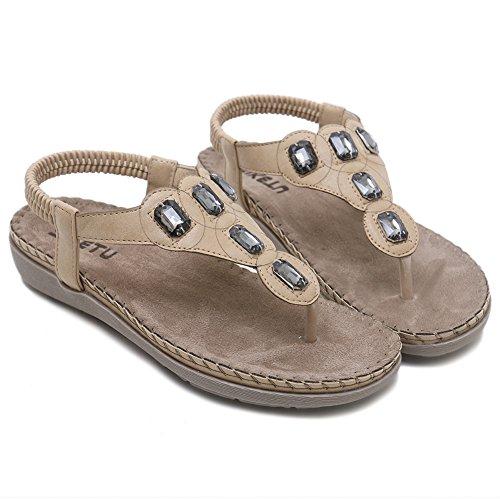 10e3c04a01db ... Agowoo Syntetiskt Läderrem Platt Jeweled Sandal För Kvinnor Aprikos ...