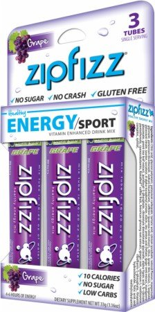 Zipfizz Grape Healthy Energy Mix with Vitamin B12 (Single Box with 3 Tubes 0.39oz Each)