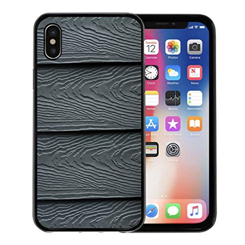 Semtomn Phone Case for Apple iPhone Xs case,Beautiful Wood Plank and Patterns Cement Striped Wall Dark Blue Navy Color Substitute Board High Fiber for iPhone X Case,Rubber Border Protective - Plank Cement Fiber