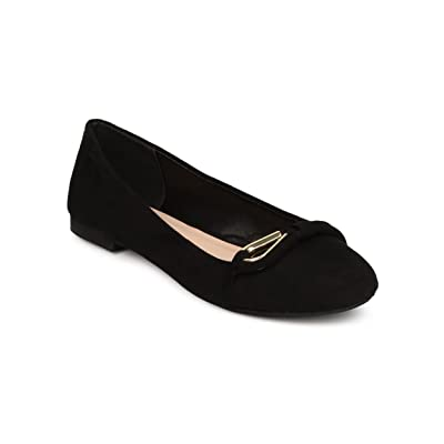 Qupid Women Faux Suede Round Toe Loop Band Ballet Flat FF08 - Black | Flats