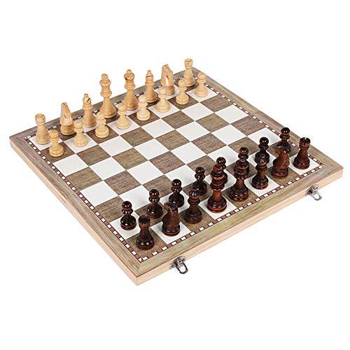 Juego de Tablero de ajedrez de Madera Plegable para niños Adultos 3 en 1, Juegos de ajedrez de Viaje portátiles Damas de…