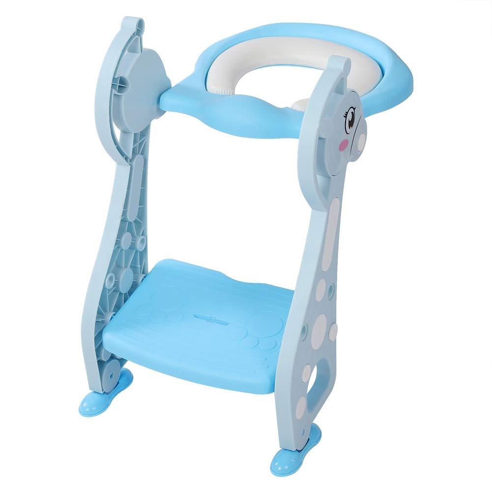 Ejoyous Si/ège de Formation de Pot Bleu Confortable Potty Chair Enfants pour aux Gar/çons et Filles Pliable et R/églable Si/ège de Toilette Enfants avec Marches Larges