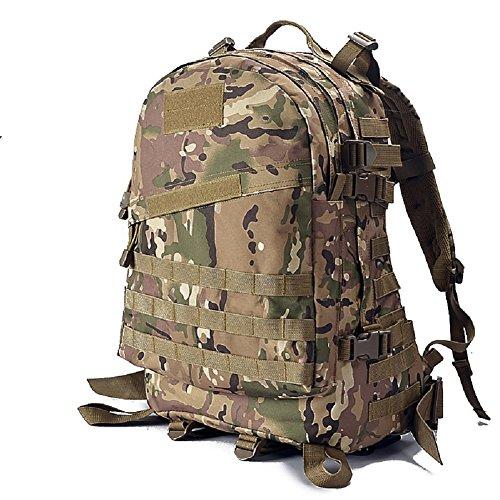 YAKEDA® Montañismo hombres bolso y mochila bandolera 3D paquetes de ataque táctico de las mujeres que suben Mochila de viaje Mochilas Camuflaje paquete impermeable caminatas al aire libre mochila 45L  Color2