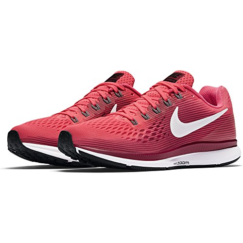 NIKE Women's Air Zoom Pegasus 34 Running Shoe (9, Racer Pink/Vast Grey-Rush Maroon)