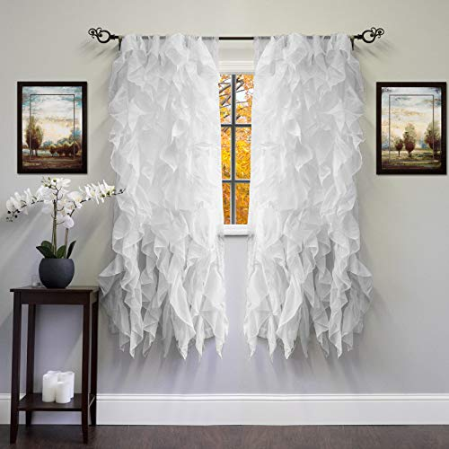(ABeautifulSeller Chic Sheer Voile Vertical Ruffled Tier Window Curtain Single Panel 50