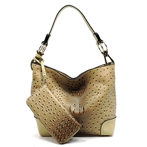 2 PC Set Ostrich Croco Embossed Vegan Faux Leather Hobo Shoulder Bag Classic Bucket Purse with Matching Wallet - Embossed Handbag