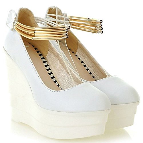 Wedge White Strap Pumps Shoes Women Heel Ankle Shoes Summer TAOFFEN FaxwHq55