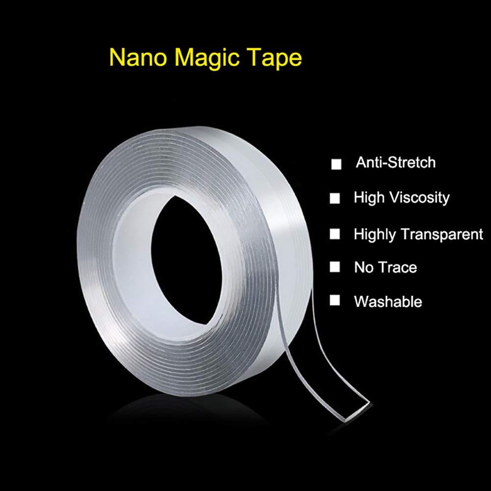 3cm Multifunzione Riutilizzabile Nastro Biadesivo Senza Tracce Hoveey Nano Biadesivo Trasparente 5m