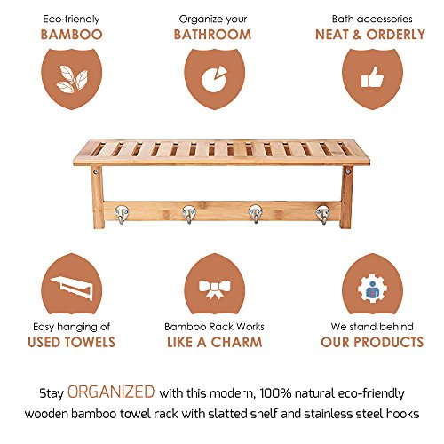ToiletTree Products 100% Bamboo Wooden Natural Shelf with 4 Stainless Steel Hooks by ToiletTree Products (Image #2)