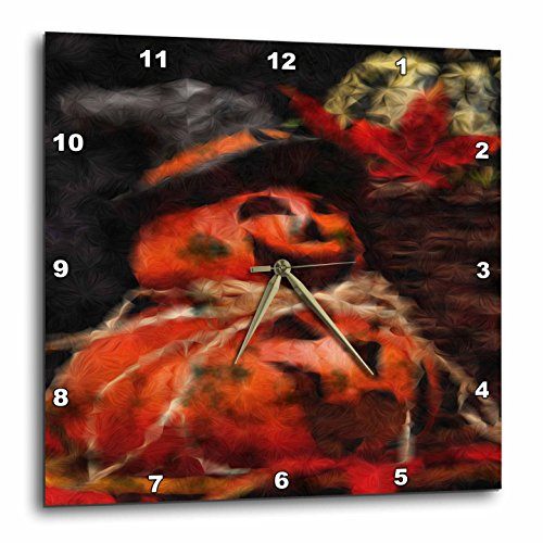 3dRose dpp_36825_1 Smokey Halloween Pumpkins-Wall Clock, 10 by 10-Inch