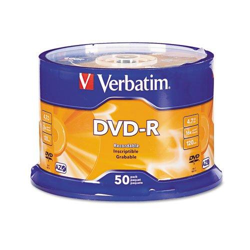 Verbatim DVD-R 4.7GB 16x AZO Recordable Media Disc - 50 Disc