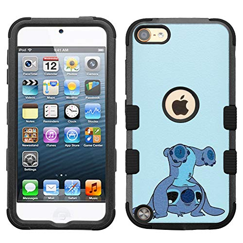 for Apple iPod Touch 6, Touch 5, Hard+Rubber Dual Layer Hybrid Heavy-Duty Rugged Impact Cover Case - Stitch #USD (Ipod Touch 5 Cases Stitch)