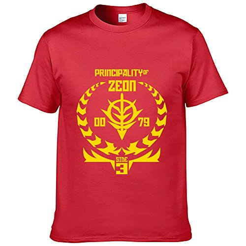Happy Yohe Gundam Zeon 3 Times Speed T-Shirt Animation Comic (Red, L)