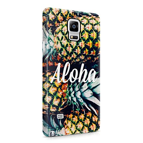 (Aloha Tropical Pineapple Pattern Plastic Phone Snap On Back Case Cover Shell Compatible with Samsung Galaxy Note 4)