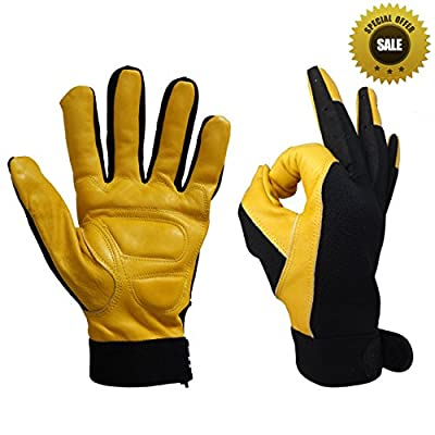 Men's Hi-Dexterity Leather Work Gloves,Ultra Comfort, Stretch Fit,General Purpose Leather Gloves
