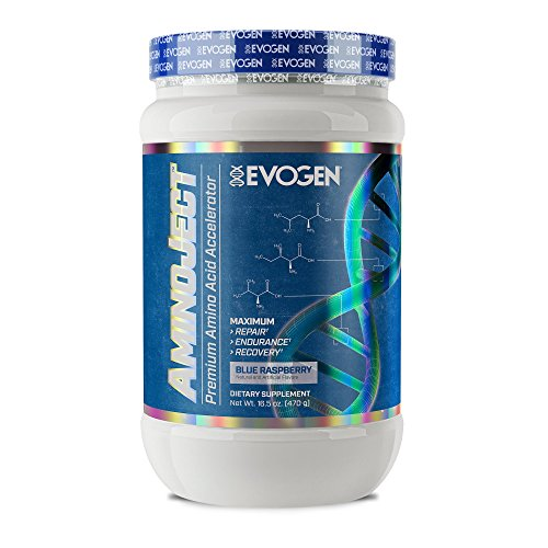 Evogen AminoJect, Vegan Fermented Plant Based BCAA, Glutamine, Citrulline Powder, Blue Raspberry, 30 Servings