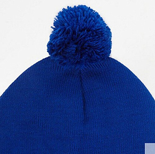 Womens Casual Fold Soft Knitted Warm Ear Pom Warm Wool Sport Beanie Hats