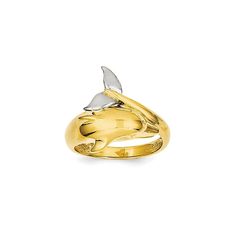 14K Two Tone Gold Dolphin Ring