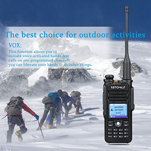 VETOMILE V-2017 Dual Band DMR Digital/Analog Two Way Radio 5W VHF 136-174MHZ & UHF 400-480MHz Walkie Talkie 3000 Channels IP67 Waterproof with GPS Function and Programming Cable by VETOMILE (Image #6)