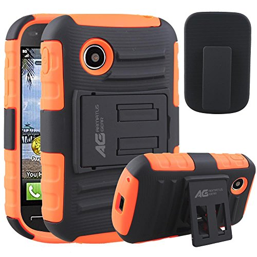 LG 306G Case Holster Combo - Armatus Gear (TM) Tactical Hybrid Armor Case and Holster Combo For LG 306G / LG 305C (TracFone / NET10 / StraightTalk) - Orange