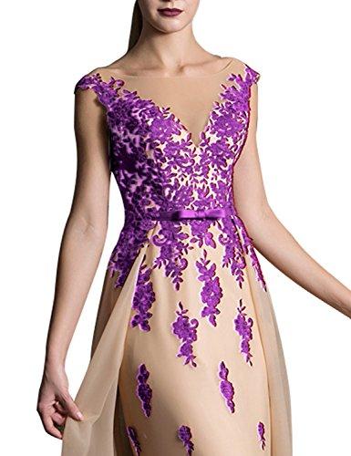 2018 Long Lace Mermaid V Neck Wedding Sash Prom Dresses Sweep Train Elegant Bridal Belt Bow Formal Gown EV429 Grape Champagne Size 14