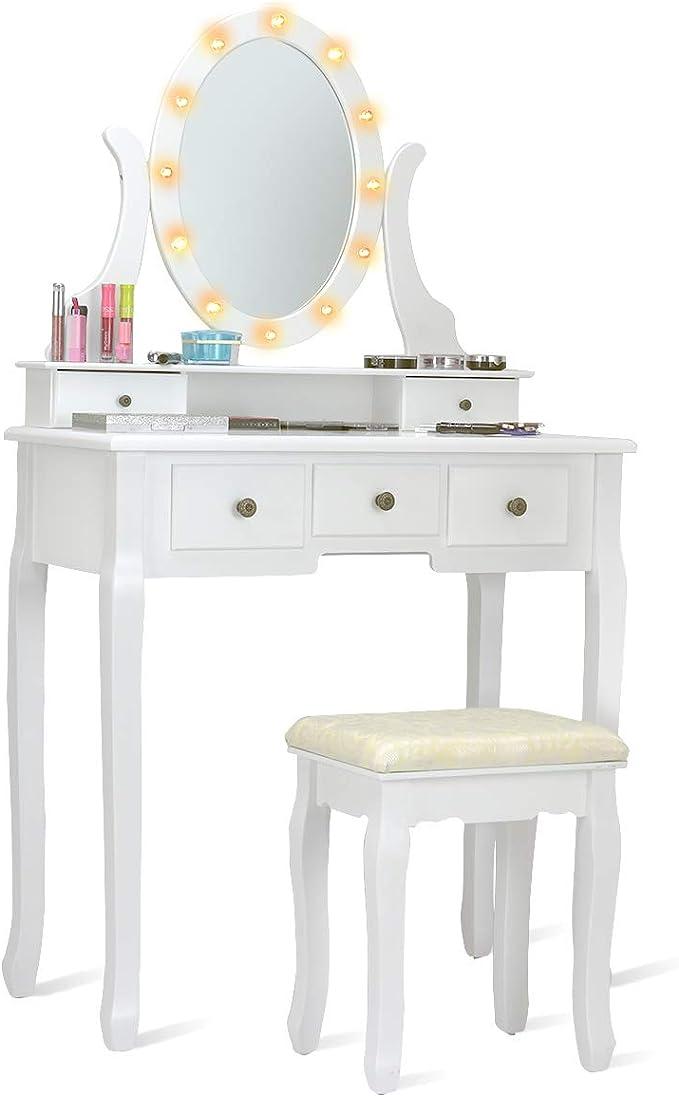 COSTWAY Set Toeletta e Sedia per Bambine Toletta Trucco 2 in 1 con Superficie Smontabile Bianco 80 x 42 x 105 cm con Specchio e Cassetto