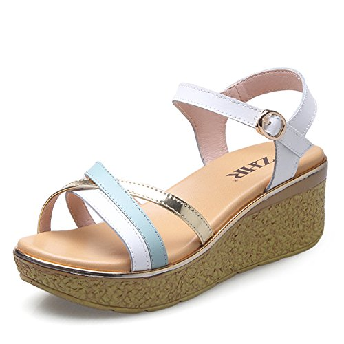 Korean Version Of Wedge Sandals In The Summer, Thick-soled Leather Shoes,Band Of High Heel Sandals,Casual Shoes B