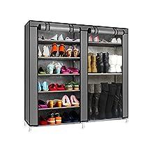 Magshion* Double Style Shoe Boot Closet Rack Shelf Storage Organizer Cabinet Portable- 9 Layer (Dark Gray)
