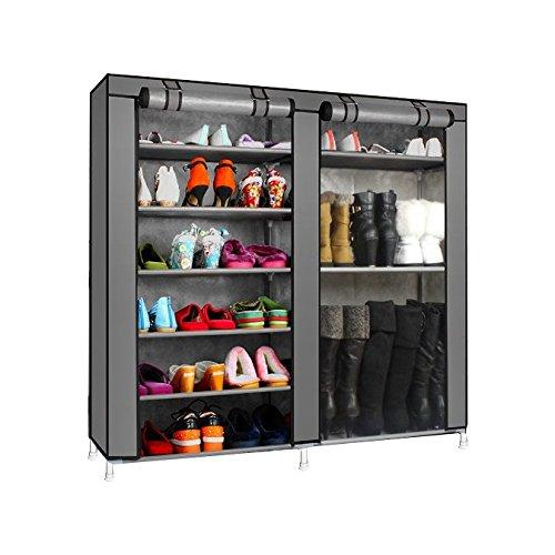 Magshion* Super Portable Closet Rack Storage Cloth Shoe Organizer-3 Style (Shoe Double, Dark Gray)