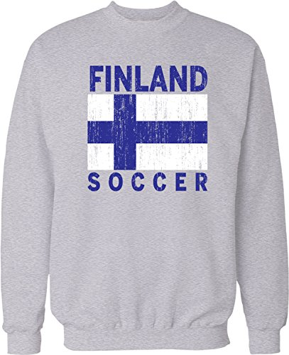 NOFO Clothing Co Finland Soccer, Suomi Flag Football Pride Crew Neck Sweatshirt, XXXL LtGray (Arms Finnish Coat Of)