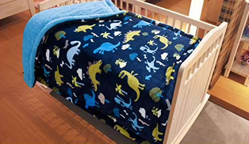 Golden Linens Baby Infants Printed Sherpa Borrego Ultra soft warm Throw Blanket Bed Cover 40