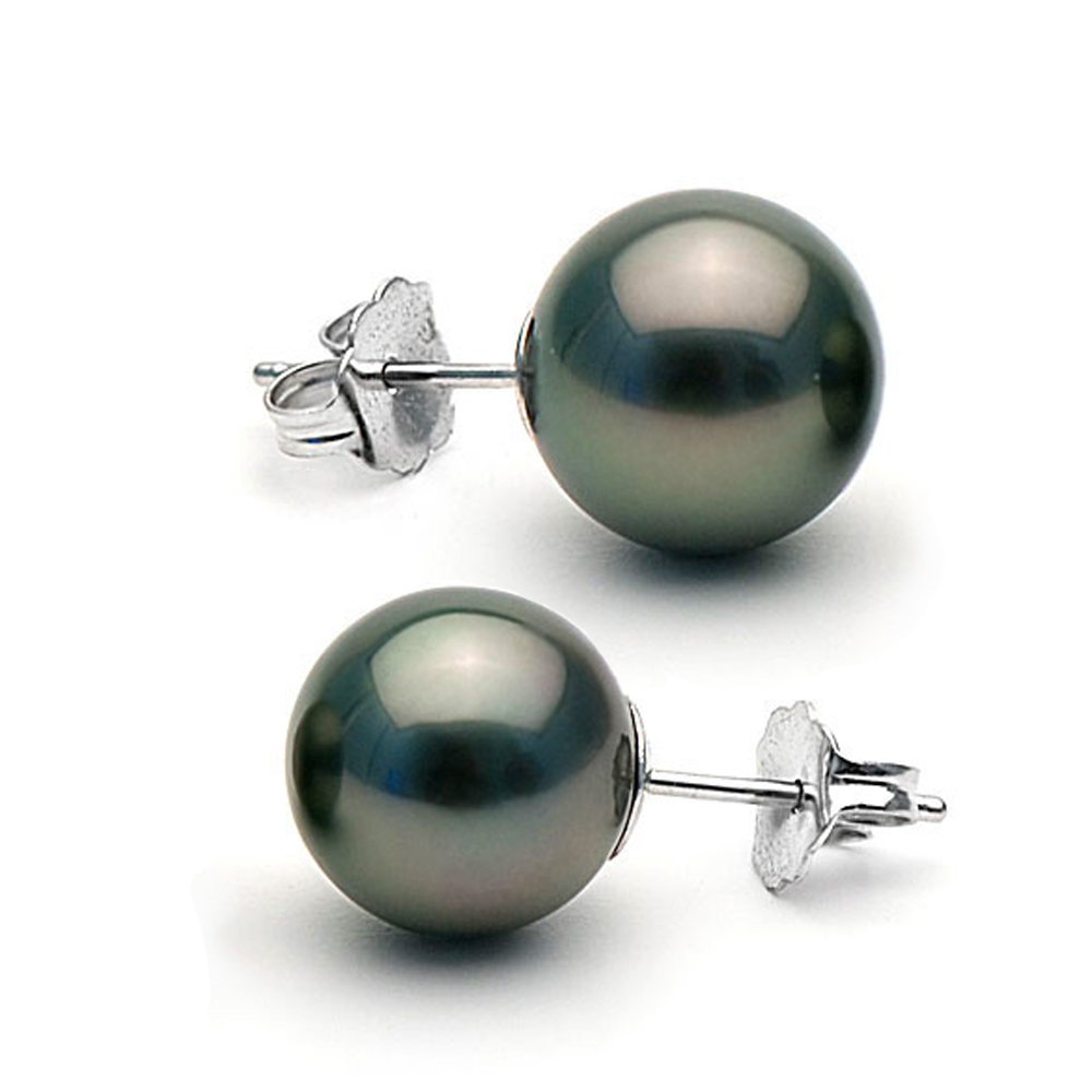 14K Cultured Black Tahitian Pearl Stud Earrings, AAA Quality, 10.0-11.0mm - 14K White Gold