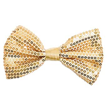 Buckletown Men's Sequined Adjustable Classic Formal Pre-Tied Bow Tie (Gold)