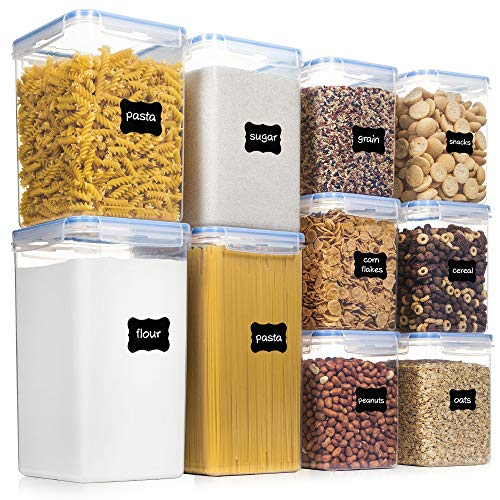 Airtight Food Storage Containers with Lids, PantryStar 10 PCS BPA Free Kitchen Storage Containers for Flour, Sugar…