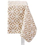 """Farberware AA6027 Vinyl Spill Proof Outdoor/Indoor Geometric Design Oblong Tablecloth, 52"""" x 70"""", Tan/Taupe"""