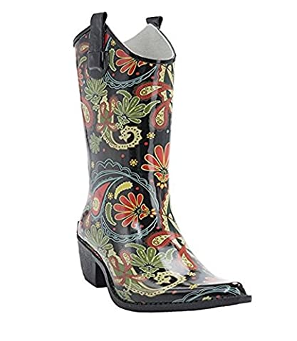 Corkys Rodeo Rain Boots for Women,7 B(M) US,Paisley (Boot Rodeo Style)