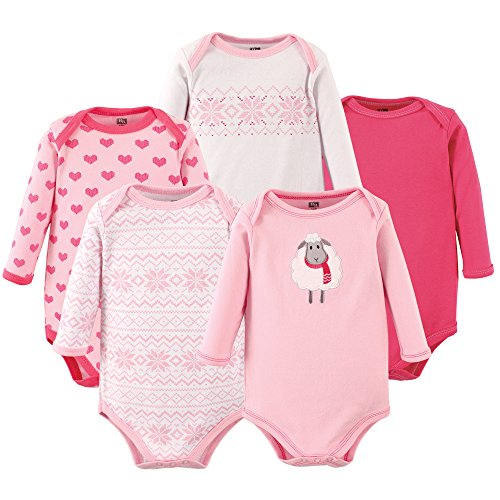 Hudson Baby Baby-Girl 5 Pack Long Sleeve Bodysuits,sheep,9-12 Months