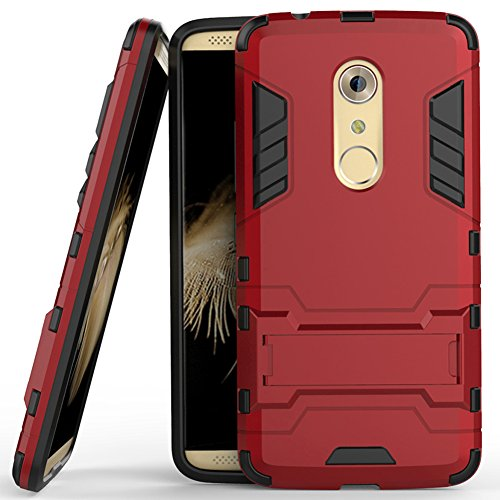 Axon 7 Case, ZTE Axon 7 Case, MicroP(TM) Dual Layer Armor Hard Slim Hybrid Kickstand Phone Cover Case for ZTE Axon 7 (Red Kickstand Case)