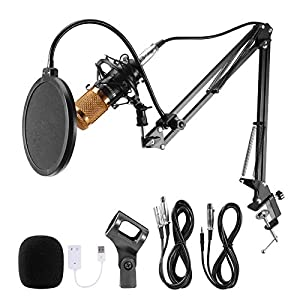 Voilamart Condenser Microphone Set BM-800 with Adjustable Recording Microphone Suspension Scissor Arm Stand with Shock Mount and Mounting Clamp Kit for Studio Broadcasting Recording