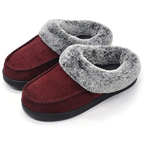 Microfiber Clog Suede (ULTRAIDEAS Women's Comfort Micro Suede Memory Foam Slippers Non Skid House Shoes w/Faux Fur Collar (Medium / 7-8 B(M) US, Burgundy))