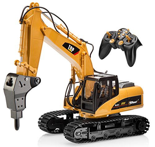 Top Race 16 Channel Professional Remote Control Drill Excavator, RC Construction Tractor Excavator Toy - Metal Drill (TR-218)