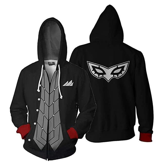 Persona 5 Joker Akira Kurusu Cosplay Hoodie Sweatshirt Zipper Jacket Coat Black