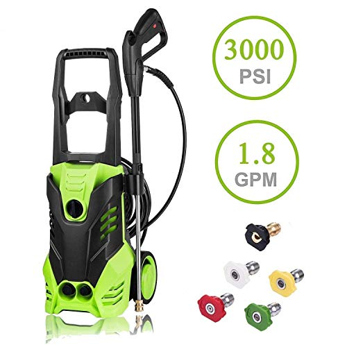 Luckdeal Electric Pressure Washer 3000 PSI Power Washer 1800W, Rolling Wheels Surpport, Professional Washing Cleaner Machine 1.7GPM + Power Hose Nozzle Gun+ 5 Nozzle Adapters (Green #2)