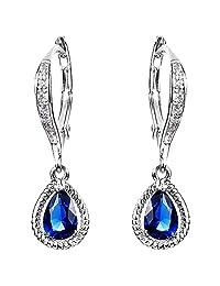 EleQueen 925 Sterling Silver Cubic Zirconia Teardrop Bridal Dangle Leverback Earrings Sapphire Color