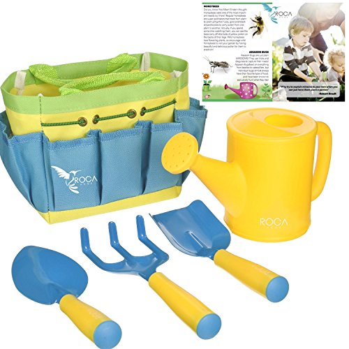 Gardening Tools for Kids by ROCA Home. Fun Outdoor and Early Learning Summer Toys. Shovel, Spade, Trowel, Watering Can, Cute Carry Bag and Learning Guide.